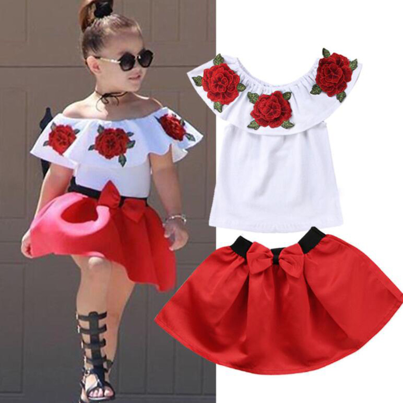 Girls Clothes Sets Casual Off Shoulder Embroidery Flower Tops Skirt Children Clothing Sets Kids Floral Suits for Girls 2-7 Years