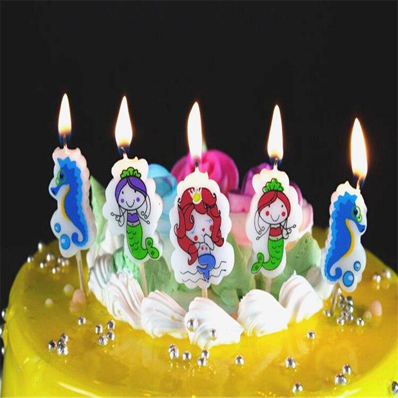 5 шт./компл. Русалочка день рождения ремесло Свечи Кекс Свеча топперы детский день рождения торт Свечи вечерние Аксессуары