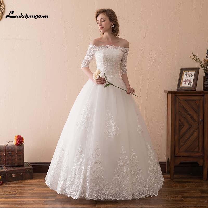 White Boat Neck Half Sleeves Wedding Dresses 2019 Real