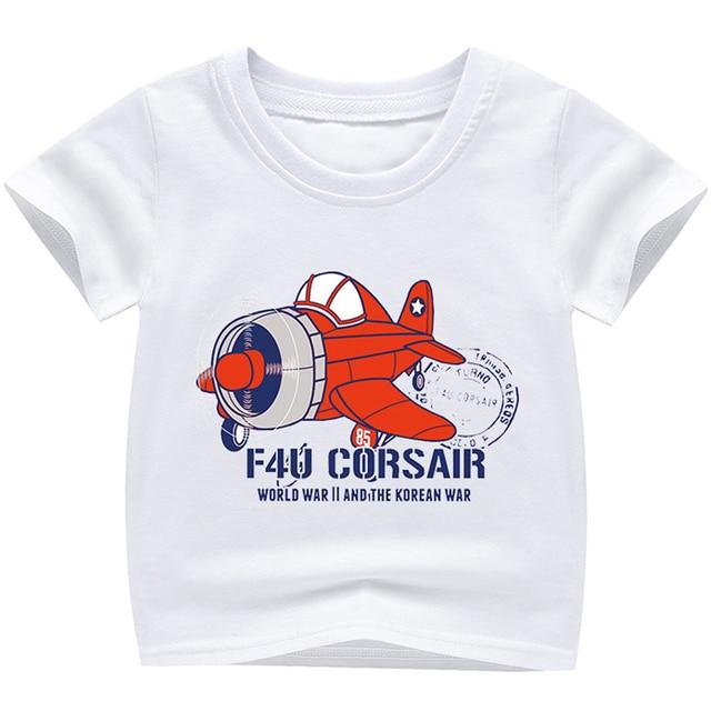 New Cartoon Plane Printed T Shirts Autumn 2018 Children Tops Kids Clothes Boys T-shirts Short Sleeve Girls Blouse Cotton Tshirts