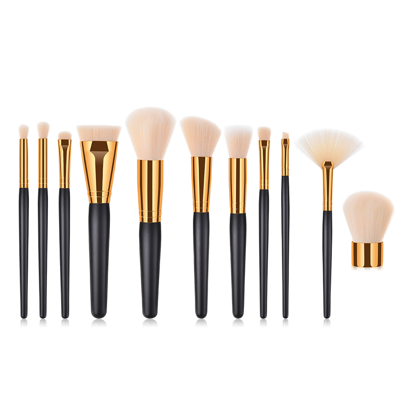 MECOLOR Professional Makeup Brush Sets 11pcs/set Black Wooden Handle Makeup Tools Kit Beauty Essential Cosmetics Brush Set
