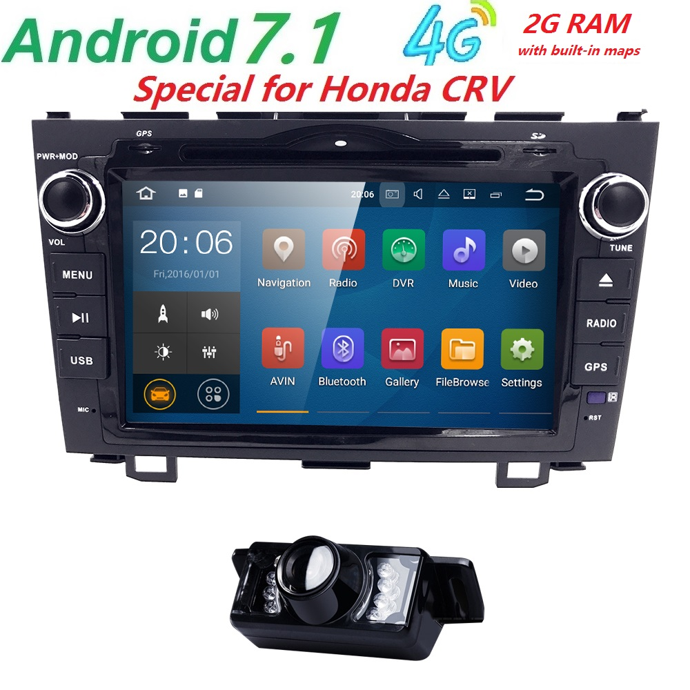 Android 7.1 HD 1024*600 Car DVD Player Radio For Honda CRV 2007 2008 2009 2010 2011 4G WIFI GPS Navigation Head Unit 2 din 2GRAM автомобильный dvd плеер oem dvd chevrolet cruze 2008 2009 2010 2011 gps bluetooth bt tv