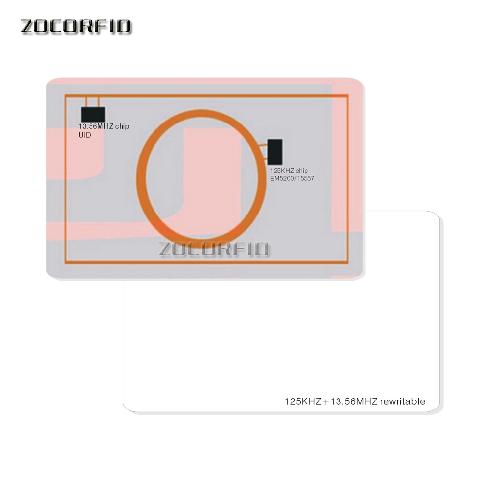 10pcs Dual Chip Frequency RFID 13.56Mhz 1K UID And T5577 125 KHz ID Blank Card Readable Writable For Copy Clone Backup Copier