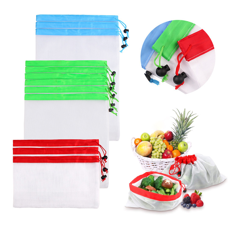1PC Reusable Mesh Bag Washable Eco friendly Produce Bags for Storage Vegetable Fruit Bag Sundries Pouch Bag Kitchen Organizer in Bags Baskets from Home Garden
