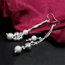 Beads Long Silver Earrings For Women Ear Fashion Jewelry Creative Engagement Romantic Birthday Party Wedding Gift