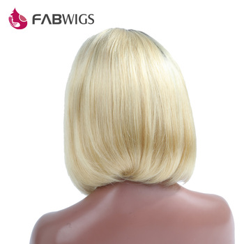Fabwigs Ombre 613 Blonde Human Hair Short Bob Wig 250% Density Brazilian Remy Hair Straight Lace Front Human Hair Wig for Women