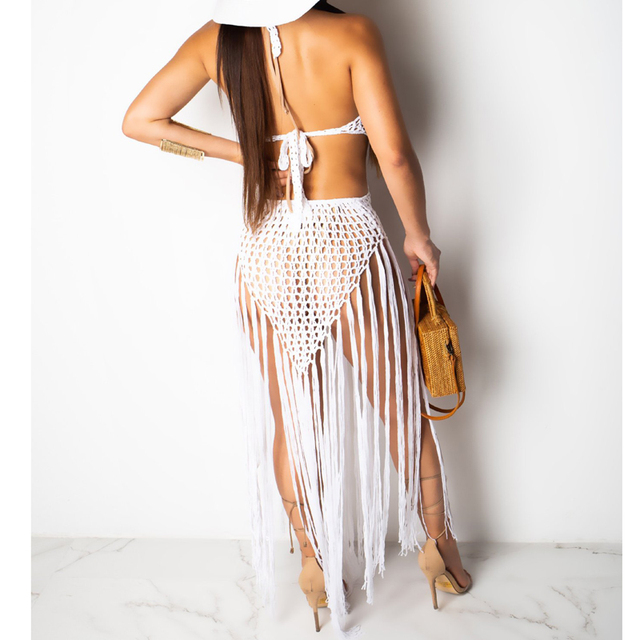 2019 summer Crochet hollow out tassel Beach Cover up dress sexy women bikini swimsuit Cover ups bathing suit Cover up Robe Plage 4