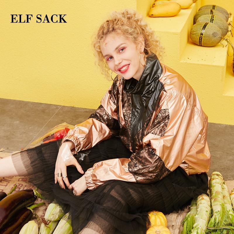 ELF กระสอบ 2019 ฤดูใบไม้ผลิใหม่ผู้หญิง Outerwear Jacktets Casual Zipper พิมพ์ผู้หญิงเสื้อลูกไม้ Patchwork Streetwear Femme แจ็คเก็ต-ใน แจ็กเก็ตแบบเบสิก จาก เสื้อผ้าสตรี บน   3