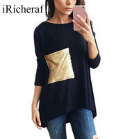IRicheraf Womens Manica Lunga Femenina O-collo Allentato T-Shirt Con Paillettes Tasche Solid Casual Tee Shirt Vendita Calda Rosa Bianco Blu