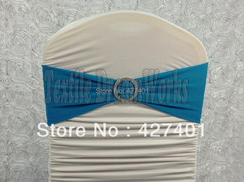 Hot Sale Lake Blue Spandex Bands / Lycra Band /Chair Covers Sash With Round Buckle For Wedding & Banquet
