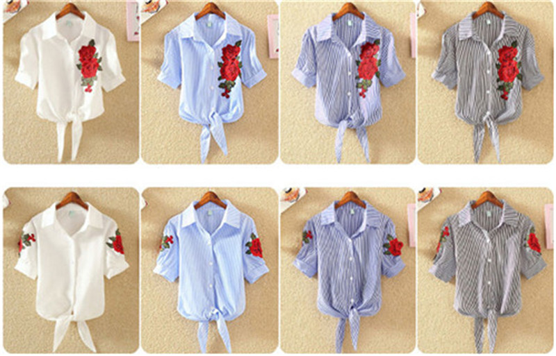 HTB12QGkSXXXXXbxXFXXq6xXFXXXT - Women Shirts Korean Short Sleeve Flower Embroidery Clothes