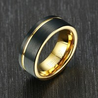 Mens Black Brushed Matte Tungsten Carbide Ring Gold Grooved Wedding Band Anniversary Gifts 8mm Width