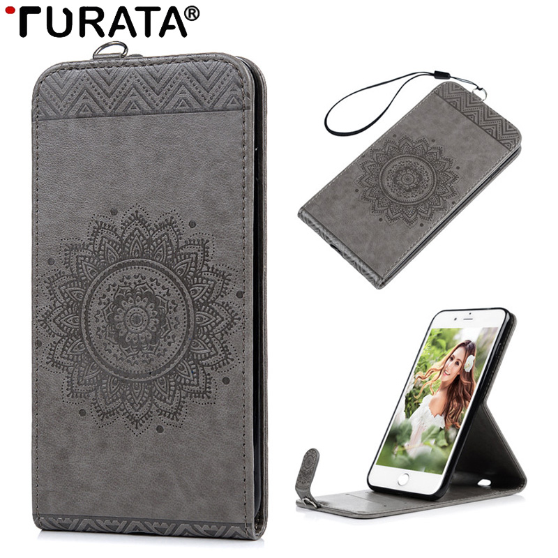 Luxury Magnetic Flip Case For iPhone 7 Plus 5.5 3D Totem Flower Up And Down Card Holder Stand PU Leather Cover 7Plus Wallet Bag