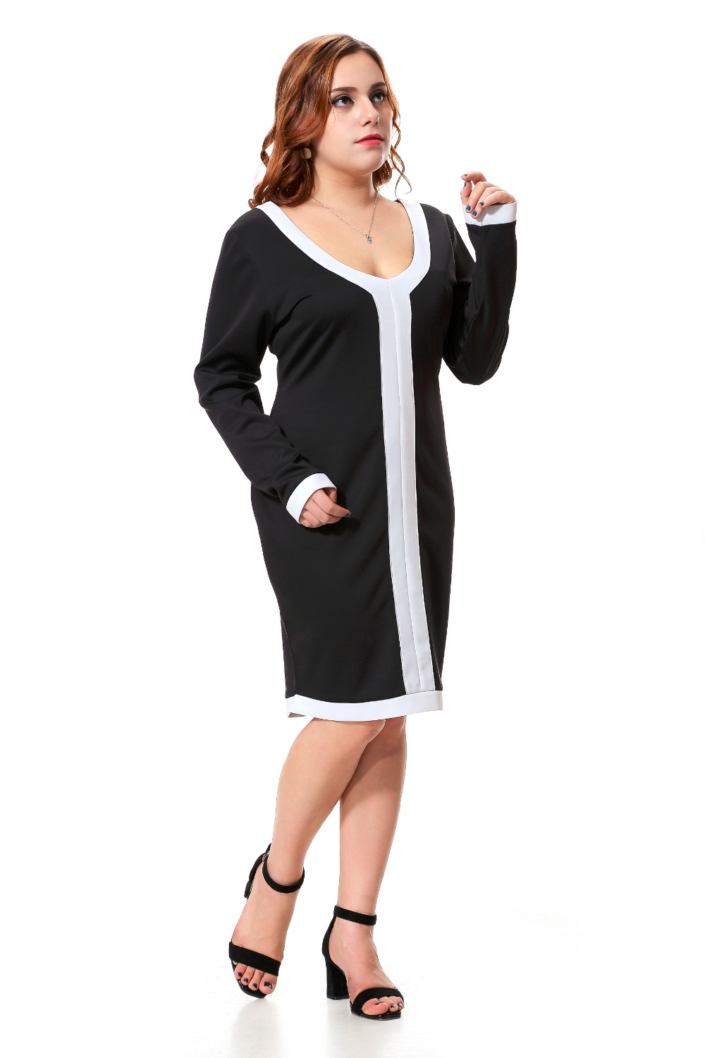 Excellent Dress Women Office Ladies Sheath White Black Bodycon Dresses Woman