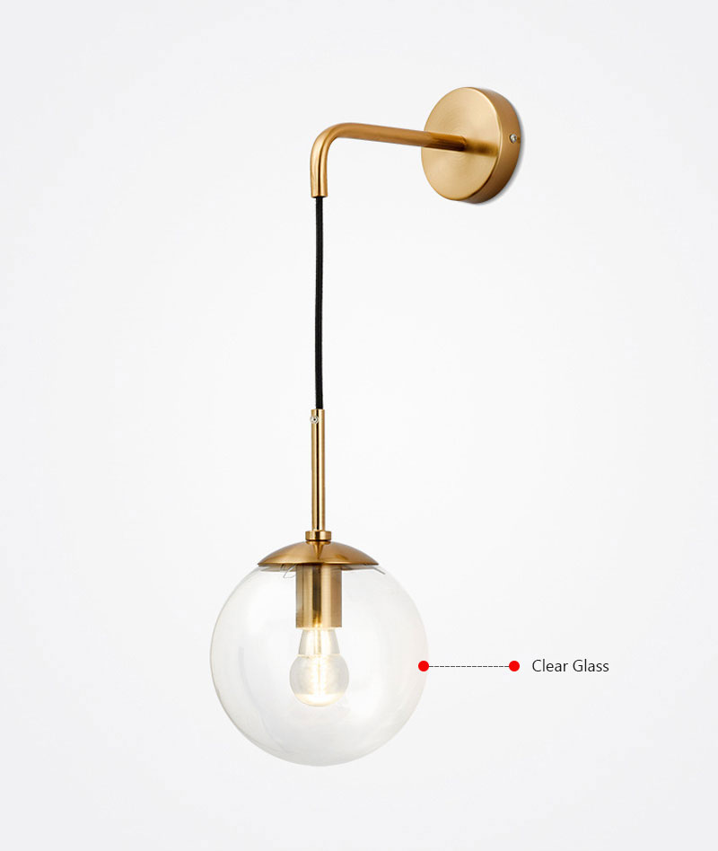 Nordic Post Modern LED Wall Lamp Creative Glass Ball Mirror Bedside Wall Lamps Vintage Wall Light For Living Room Heme Deco (5)