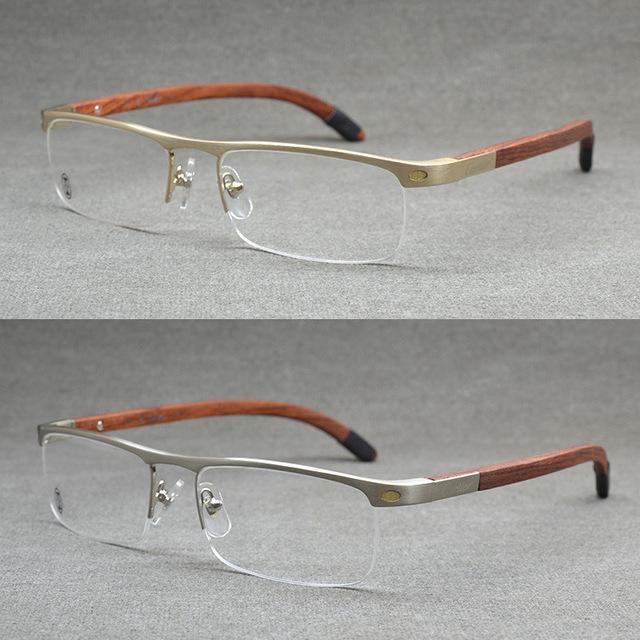 De Calidad superior Sin Montura de Oro Hombres Anteojos Vintage Marco De Madera Anteojos Ópticos Mens Marcos de Anteojos De Madera Gafas de Prescripción