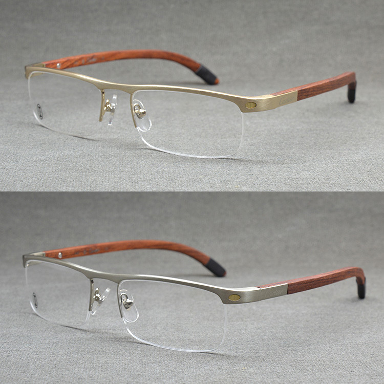 top quality rimless gold men eye glasses frame vintage wood eyeglasses optical mens eyeglass frames wooden