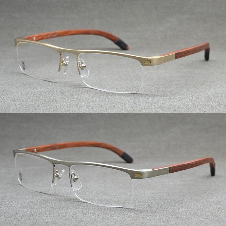 top quality rimless gold men eye glasses frame vintage wood eyeglasses optical mens eyeglass frames wooden