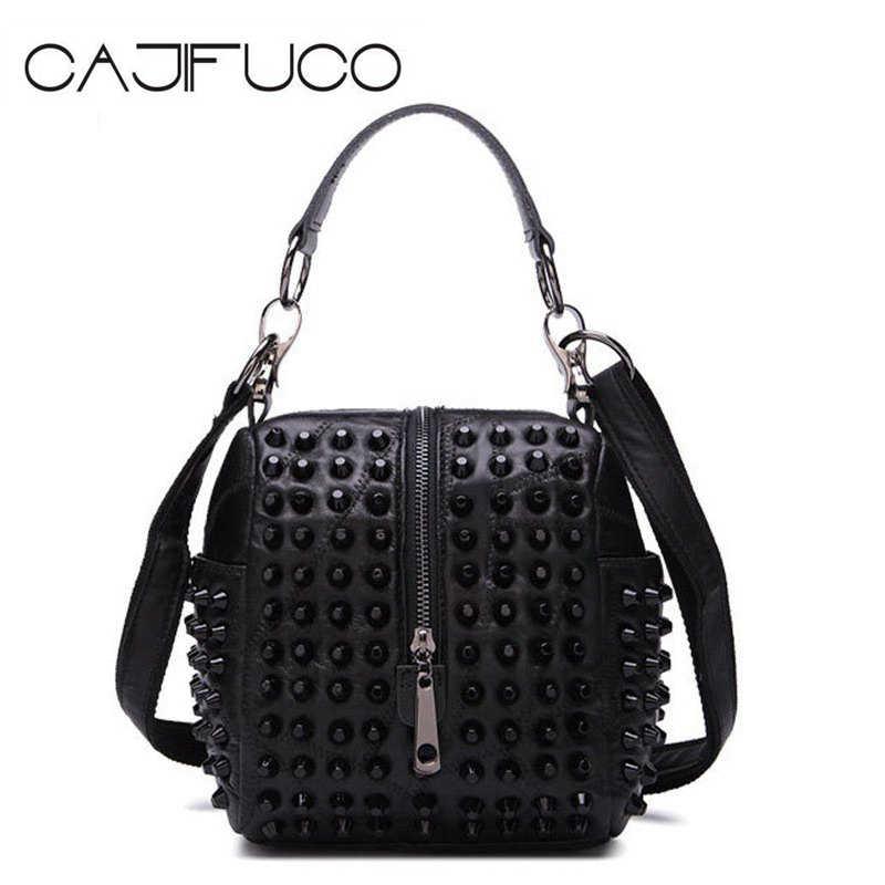 CAJIFUCO Spiked Handbag Genuine Leather Women Shoulder Bag Lambskin Studded  Pillow Bag Metal Rivet Crossbody Bag 906b6234ee8e