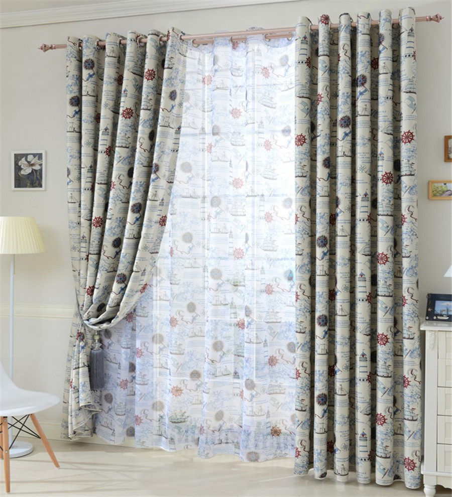 ... Child Real Blue Print Boy Curtain Pirate Boat Curtains Mediterranean  Style Curtains