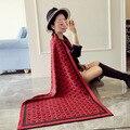 2016 fashion classic marca bufanda de la cachemira de las mujeres doble de lana impreso cachecol bufanda de invierno cálido chal y bufandas echarpe poncho