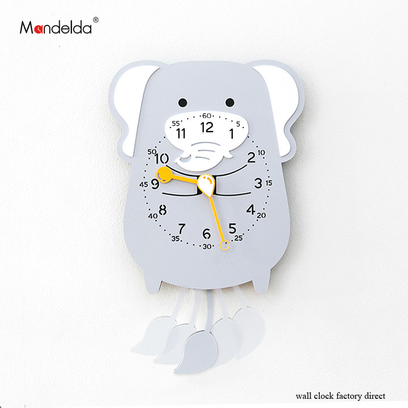 Mandelda 2018 Creative Home Decorative Cute Elephone Wall Clock Mirror Bedroom Silent Watch On Wall Promotion