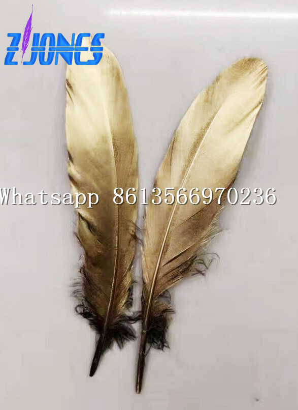 100pcs 13-18cm long Gold Painting Goose Satinettes Feathers,Hat Trimming,Feathers for Millinery,Fascinators&Crafts Decoration