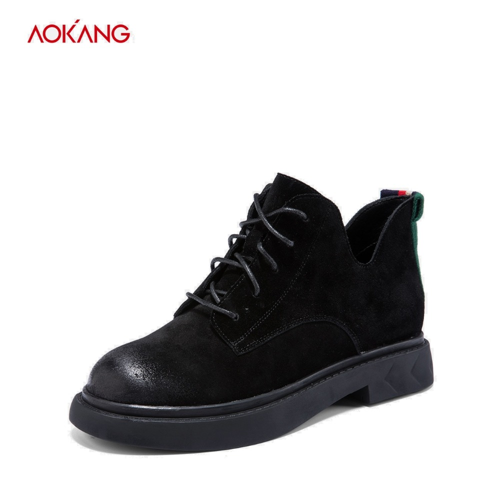 AOKANG 2018 Autumn Winter Boots Women Casual Ladies Fashion Martin Ankle Boots Suede Leather Lace up Flat Round Toe shoes woman maxmuxun women autumn winter rubber ankle boots lace up round toe flat heels classic black grey faux suede shoes female footwear