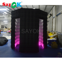 Customized Portable Octagon Photo Booth Enclosure Led Inflatable Backdrop Photo Booth Props for Wedding, Party, Event