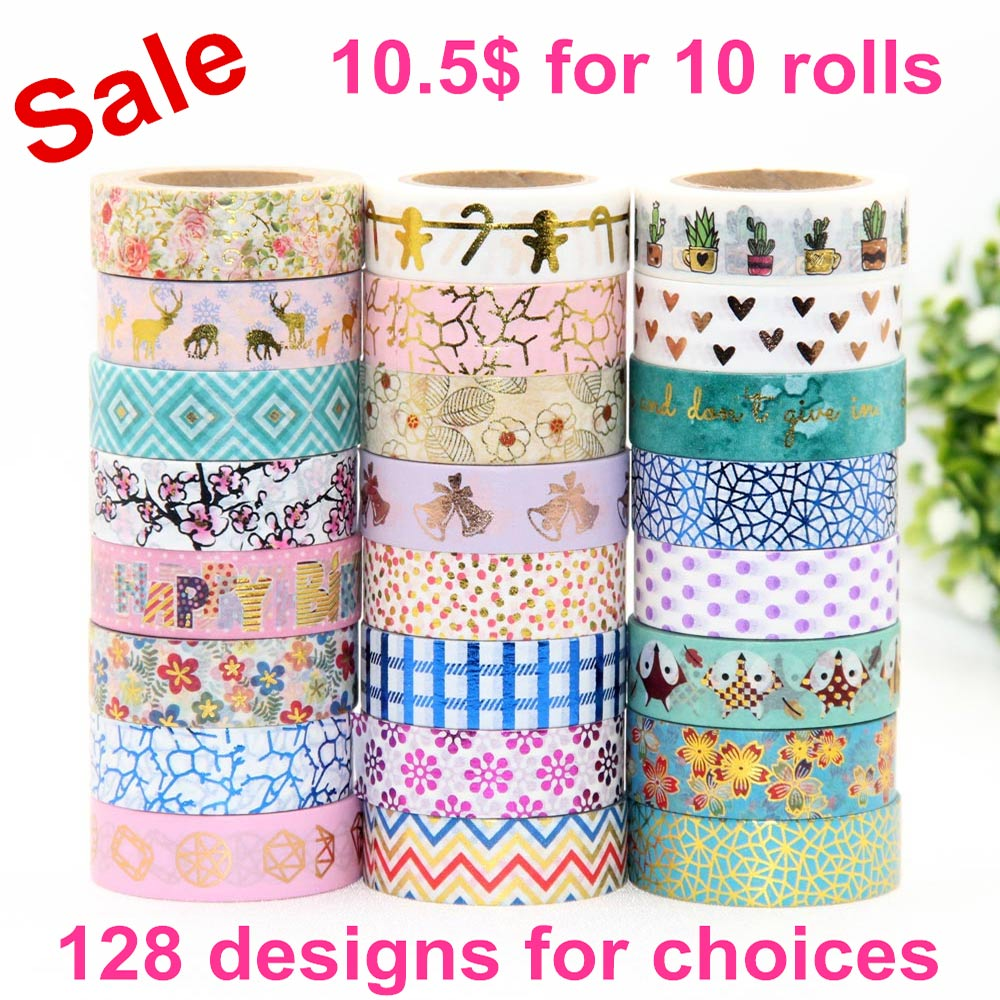 10pcs/lot Foil Washi Tape Heart,floral, plants,dot,pineapple Japanese 1.5*10meter Kawaii Scrapbooking Tools Masking Tape set