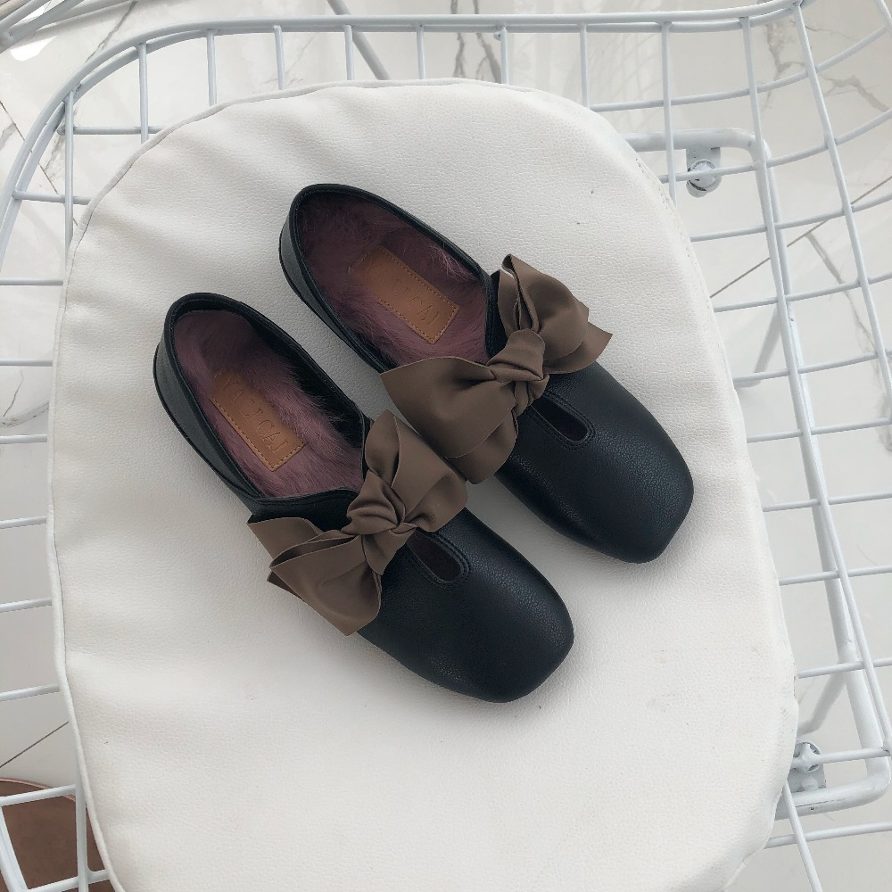 beige Sole Bow Beige No Femmes Office Slipony With Supplémentaire Coût Mou Fond Chaussures Détachable Casual Fur Lady gray Plat Appartements Ballet Sole Sole Tie Fourrure Lapin Ruban Semelle De Talon Sole black qAwdBAC