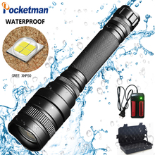 2019 New 35000lm Aluminum alloy LED Flashlight Zoomable Waterproof Super light XHP50 5 Modes z45