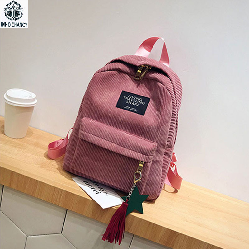 INHO CHANCY Adolescent Girl School Bag Solid Corduroy Women Mini Backpack Winter Students Travel Bag Velvet Bag Feminina Bolsa adolescent