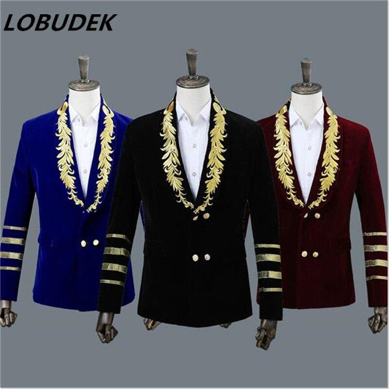 Hommes Court uniforme vin rouge bleu noir broderie velours smoking Blazer chanteur hôte scène Costumes mâle Bar discothèque vêtements