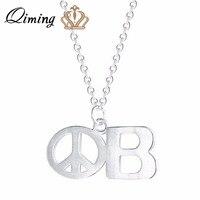 QIMING 925 Sterling Silver Peace Sign Pendant Necklace For Women Choker Round Crux De Sanctus Petrus