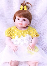 big eyes Newborn Dolls Lifelike bebes Reborn Babies 55cm Full Body Silicone Vinyl doll Gift For Girls fashion Children Toy
