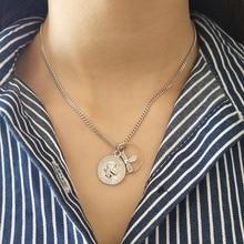 Collar de plata de ley 925 con retrato de moneda de Cara Humana, colgantes de circonio, moneda DIY con personalidad, joyería para mujer