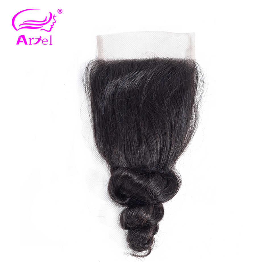 Ариэль индийский 100% человеческих волос Свободные волны 8-20 дюймов 4*4 закрытия шнурка-Реми ткачество натуральный Цвет Бесплатная доставка 1 шт./лот