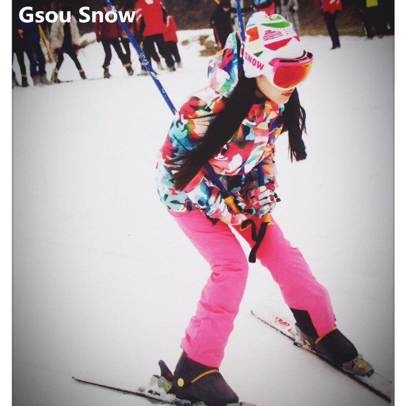 Prix pour Gsou Snow coloré snowboard veste femmes chaud imperméable à l'eau brillant belle ski veste hiver combinaison de ski féminin montagne ski
