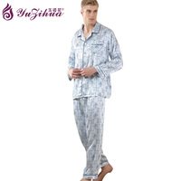 Yuzihua Men Satin Silk Pajamas Sets Of Sleepshirt Trousers Adult Nightwear Man Casual Home Clothing Plus