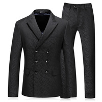 (Jacket+Vest+Pants) 2018 spring fashion Men Embroidery Suits Classic suits Men's business wedding Suit men Full dress