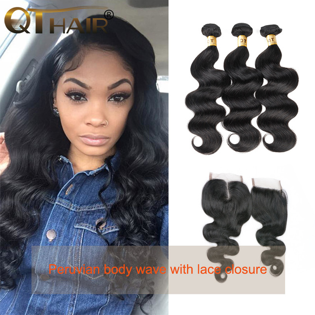 3 Bundles Unprocessed Peruvian Body Wave With Closure High Quality Rosa Hair Products With Closure 4x4 Lace Closure With Bundles