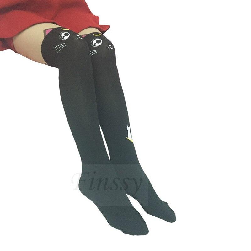 Harajuku Girls Carino Bianco//Nero Collant Cosplay espressione Collant Calze
