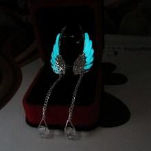 Engelenvleugels Oorbellen Fashion Crystal Feather Oor Manchet Lange Kwasten Vrouwen Sieraden Geschenken Dropshipping