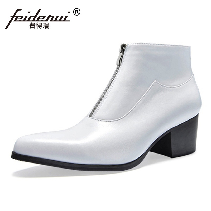 New Italian Designer High-Top Man Formal Martin Shoes Genuine Leather Pointed Toe Zip High Heels Men's Cowboy Ankle Boots SS94 2016 new spring 100% real genuine leather formal brand man italian ankle boots men s slip on cowboy rubber shoes gl282