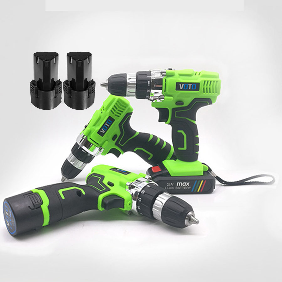VOTO V6 2*Battery Rechargeable Cordless Drill Electric Screwdriver Set Lithium Power Tools Screw Gun Driver 12V 16.8V 21V Green lomvum 12v 16 8v 21v cordless rechargeable lithium battery electric screwdriver mini drill kit furadeira screw gun longyun