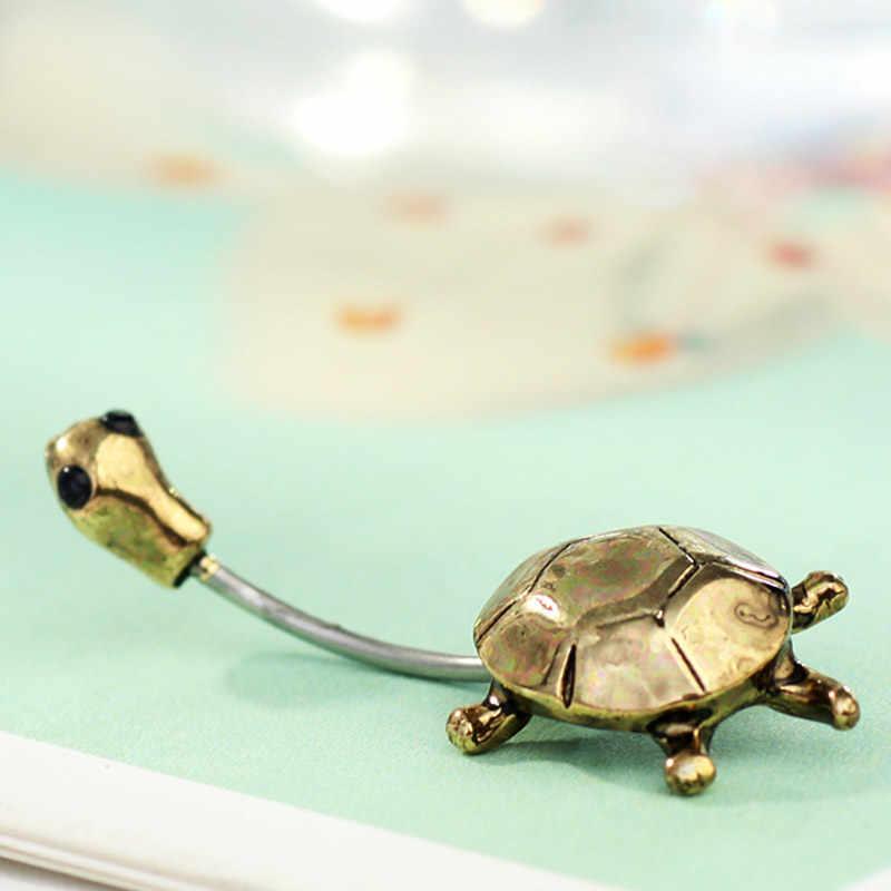 Neoglory Ánh Sáng Yellow Gold Màu Rùa Rhinestone Piercing Belly Button Nhẫn Navel cho Nữ Trang Sức Mới QC4