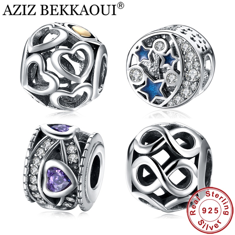 AZIZ BEKKAOUI Real 925 Sterling Silver Crystal Round Blue STARS Beads fit DIY Bracelets & Bangle Heart Charm DIY Accessories