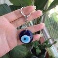 Turco azul do olho mau de vidro charme pendent bolsa bag chave da cadeia de chaveiro 316lss special acessórios protetor de presente para o amante