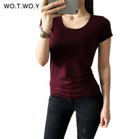 High Quality 21 Candy Color Cotton Basic T Shirt Women Casual O Neck Simple T Shirt